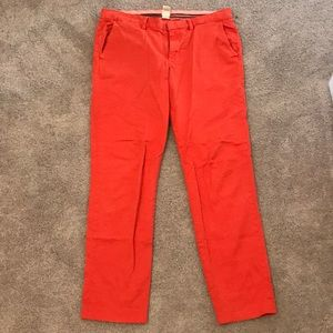 Lands End Canvas True Slim Pants Orange Sz 12